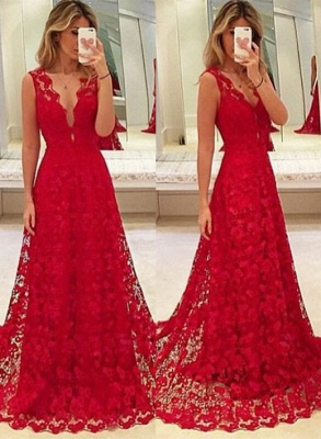 Sexy Red Lace V-Neck Prom Dress 2020 Tulle BA3843_1