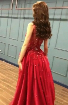 Sexy Red Crystal Sequins Prom Dresses   2020 Ruffles Long Evening Gowns BC0423_3