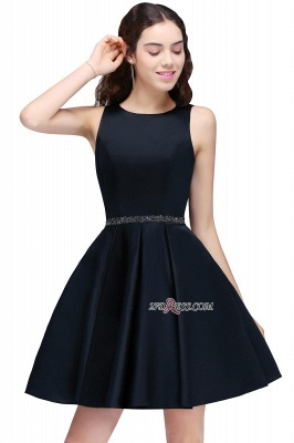 A-Line Beadings Sleeveless Sequare Black Short Homecoming Dresses_6