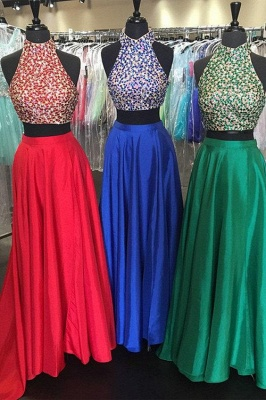 Two Pieces Gorgeous Beadings Prom Dresses 2020 High Neck Long_1