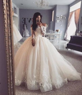 Glamorous Lace Appliques Ball Gown Wedding Dresses Long Sleeves Bridal Gowns_2