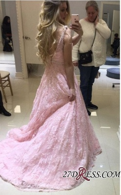 Pink Lace Prom Dress | 2020 Evening Gowns On Sale_2