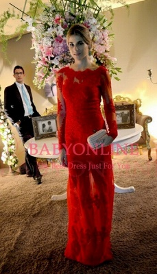 Sexy Long Red Lace Prom Dress Sleeves Gorgeous_1