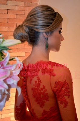 Sexy Long Red Lace Prom Dress Sleeves Gorgeous_2