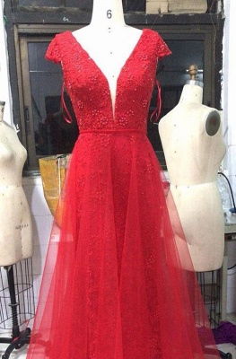 Glamorous Red V Neck Cap Sleeves 2020 Evening Dress | Lace Appliques Mermaid Overskirt Prom Gown BC1215_2
