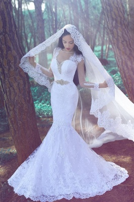 Sexy Mermaid White Lace Appliques Wedding Dress 2020 Long Sleeve Beading_1