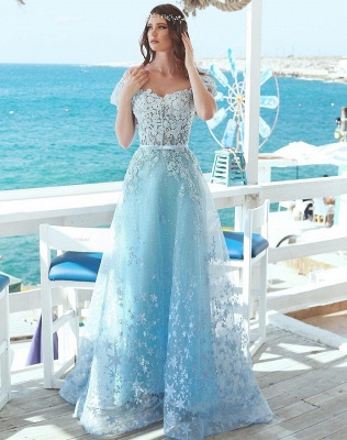 Charming Cap Sleeves Beaded Prom Dress | Princess Lace Appliques Evening Gowns On Sale_1