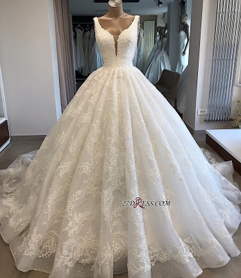 Appliques Ball-Gown V-neck Glamorous Lace Wedding Dresses_2