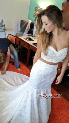 Sexy Two-Piece 2020 Beading Lace Mermaid Sweetheart Wedding Dresses_1