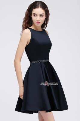 A-Line Beadings Sleeveless Sequare Black Short Homecoming Dresses_5