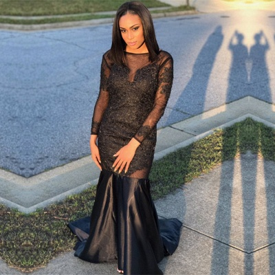 Black Long-Sleeve Prom Dress | 2020 Mermaid Evening Gowns Online_3