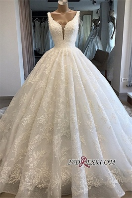 Appliques Ball-Gown V-neck Glamorous Lace Wedding Dresses_3