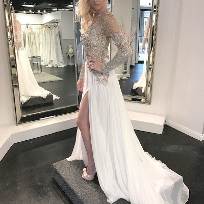 Gorgeous Long Sleeve Beading Flowers Wedding Dress | Front Split Bridal Gown_2