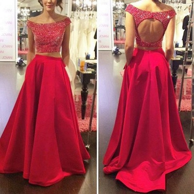 Modern Red Two Piece 2020 Prom Dress Off-the-shoulder Zipper SP0027_3