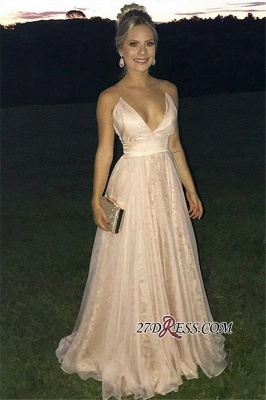 Sexy A-Line Sleeveless Tulle Evening Dresses | Pink Deep-V-Neck Lace-Appliques Prom Dresses_1