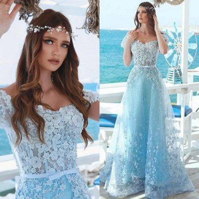 Charming Cap Sleeves Beaded Prom Dress | Princess Lace Appliques Evening Gowns On Sale_4