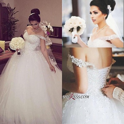 Beading Unique Off-the-shoulder Lace-up Appliques Ball-Gown Wedding Dress_1