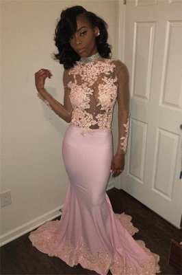 Pink High-Neck 2020 Prom Dress | Mermaid Evening Party Gowns With Lace Appliques BK0_1