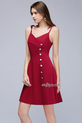Sweetheart Spaghetti-Strap A-Line Short Homecoming Dress with Buttons_3