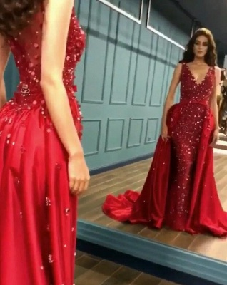 Sexy Red Crystal Sequins Prom Dresses   2020 Ruffles Long Evening Gowns BC0423_2