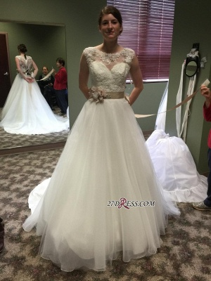Lace Applique Princess Scoop Chic Cap-Sleeves 2020 Wedding Dresses Flower-Sashes_2