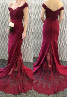 2020 Lace-Appliques Off-the-Shoulder Burgundy Mermaid Long Prom Dresses BA3997_1