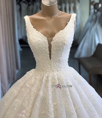 Appliques Ball-Gown V-neck Glamorous Lace Wedding Dresses_1