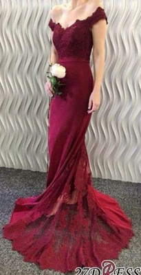 2020 Lace-Appliques Off-the-Shoulder Burgundy Mermaid Long Prom Dresses BA3997_3