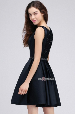 A-Line Beadings Sleeveless Sequare Black Short Homecoming Dresses_3