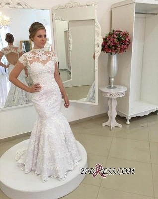 Pearls High-Neck Zipper White Newest Appliques Mermaid Lace Wedding Dress_3
