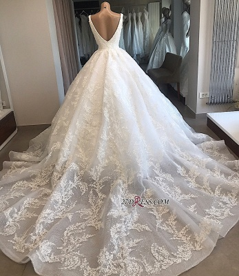 Appliques Ball-Gown V-neck Glamorous Lace Wedding Dresses_4