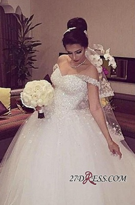 Beading Unique Off-the-shoulder Lace-up Appliques Ball-Gown Wedding Dress_2