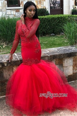 Sexy Red Long Sleeve Prom Dresses   2020 Mermaid Evening Party Gowns BK0_2
