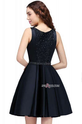 A-Line Beadings Sleeveless Sequare Black Short Homecoming Dresses_2