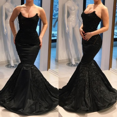 Gorgeous Black Evening Dresses |2020 Mermaid Long Prom Gown_3