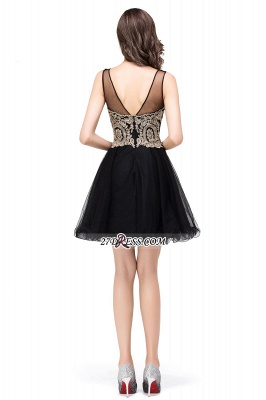 Sleeveless Appliques 2020 Sexy Black Tulle Homecoming Dress_10