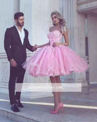 Short Appliues Pink Sweetheart-Neck Ball-Gown Homecoming Dresses_1