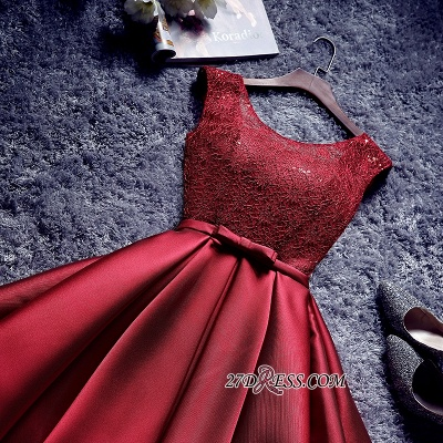 Bowknot-Sash Red Lace-Up-Back A-line Homecoming Dresses BA7429_5