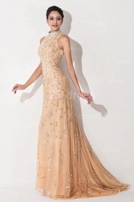 Sexy High Neck Mermaid Prom Dress Beadings Sweep Train_3