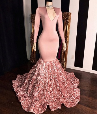 Elegant Long Sleeve Pink Prom Dresses | 2020 Mermaid Flowers Bottom Evening Gowns BC1341_2
