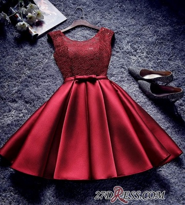 Bowknot-Sash Red Lace-Up-Back A-line Homecoming Dresses BA7429_3