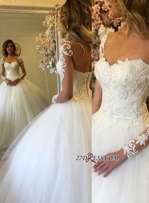 Lace-up Ball-Gown Luxury Long-Sleeves Lace Wedding Dress_2