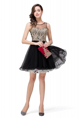 Sleeveless Appliques 2020 Sexy Black Tulle Homecoming Dress_8