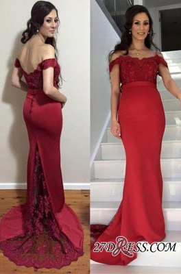 Newest Zipper Mermaid Off-the-shoulder Lace Maternity Sweep-Train Prom Dress_1