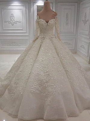 Charming Long Sleeve Lace Appliques Bridal Gowns | 2020 Ball Gown Wedding Dress With Zipper Button Back_4