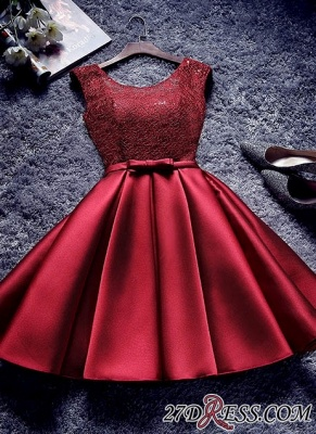 Bowknot-Sash Red Lace-Up-Back A-line Homecoming Dresses BA7429_2