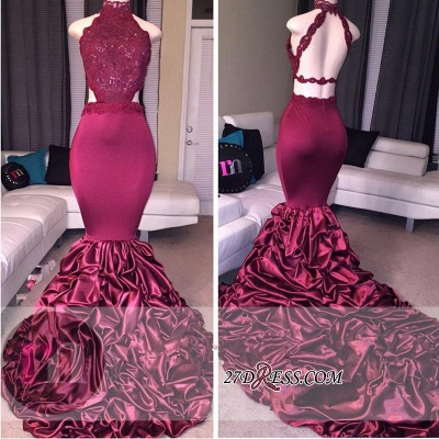 Mermaid Newest High-Neck Open-Back Beadings Lace Prom Dress_2
