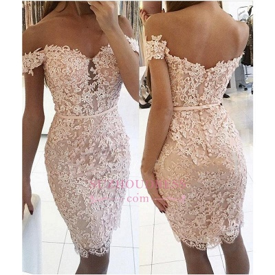 Buttons Lace Off-the-Shoulder Sexy Short Tight Homecoming Dress BA6358_1