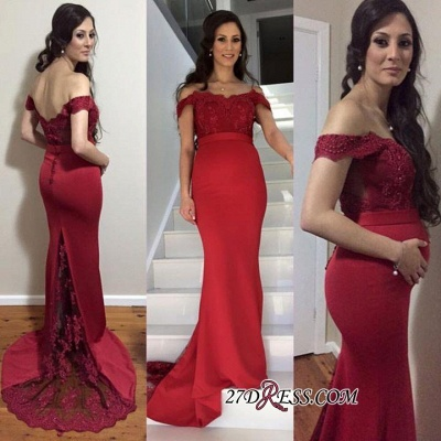 Newest Zipper Mermaid Off-the-shoulder Lace Maternity Sweep-Train Prom Dress_2