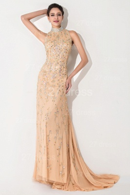Sexy High Neck Mermaid Prom Dress Beadings Sweep Train_2